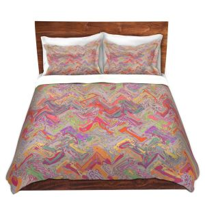 Artistic Duvet Covers and Shams Bedding | Susie Kunzelman - Living Coral | Colorful abstract pattern