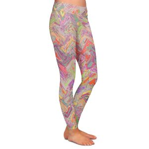 Casual Comfortable Leggings | Susie Kunzelman - Living Coral | Colorful abstract pattern