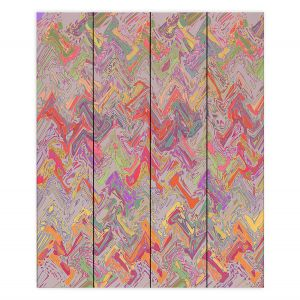 Decorative Wood Plank Wall Art | Susie Kunzelman - Living Coral | Colorful abstract pattern