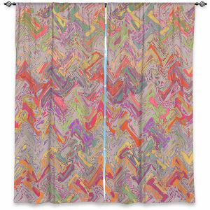 Decorative Window Treatments | Susie Kunzelman - Living Coral | Colorful abstract pattern
