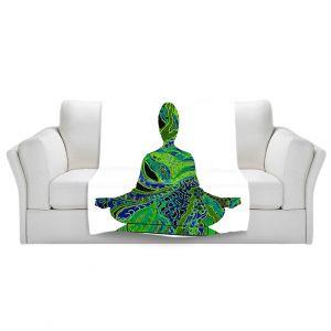 Artistic Sherpa Pile Blankets | Susie Kunzelman Man Woman Yoga II