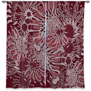 Decorative Window Treatments | Susie Kunzelman - Many Suns Red | abstract flower pattern floral