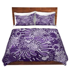 Artistic Duvet Covers and Shams Bedding | Susie Kunzelman - Many Suns Violet | abstract flower pattern floral