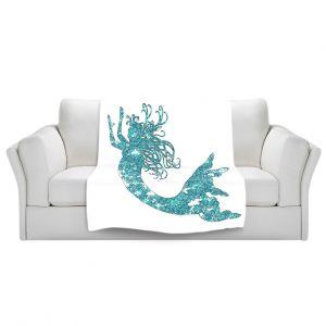 Artistic Sherpa Pile Blankets | Susie Kunzelman Mermaid Aqua