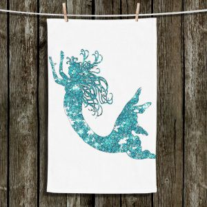Unique Hanging Tea Towels | Susie Kunzelman - Mermaid Aqua | Mermaids Fantasy Magical Childlike