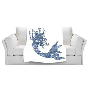 Artistic Sherpa Pile Blankets | Susie Kunzelman Mermaid Blue