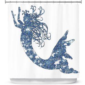 Premium Shower Curtains | Susie Kunzelman Mermaid Blue