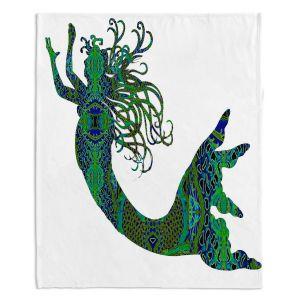 Decorative Fleece Throw Blankets | Susie Kunzelman - Mermaid Forest