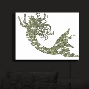 Nightlight Sconce Canvas Light | Susie Kunzelman - Mermaid Green | Mermaids Fantasy Magical Childlike