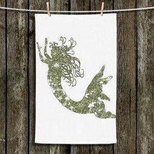 Unique Hanging Tea Towels | Susie Kunzelman - Mermaid Green | Mermaids Fantasy Magical Childlike
