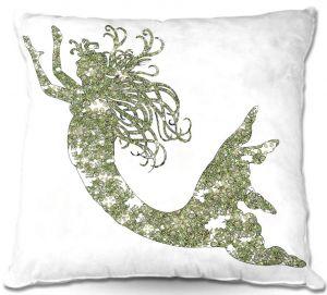 Throw Pillows Decorative Artistic | Susie Kunzelman's Mermaid Green
