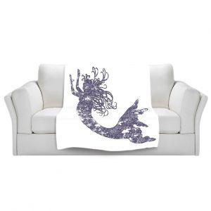 Artistic Sherpa Pile Blankets | Susie Kunzelman Mermaid Periwinkle