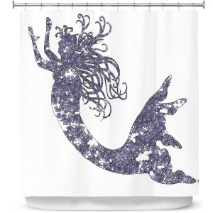 Unique Shower Curtains 71w x 74h Inches from DiaNoche Designs by Susie Kunzelman - Mermaid Periwinkle