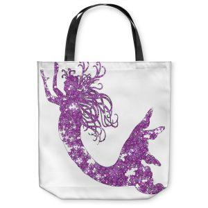 Unique Shoulder Bag Tote Bags | Susie Kunzelman Mermaid Purple