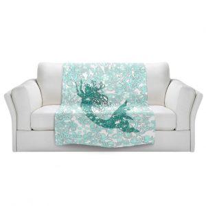 Artistic Sherpa Pile Blankets | Susie Kunzelman - Mermaid Ribbons Aquamarine
