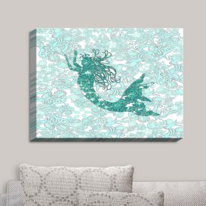 Decorative Canvas Wall Art | Susie Kunzelman - Mermaid Ribbons Aquamarine