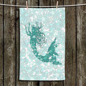 Unique Bathroom Towels | Susie Kunzelman - Mermaid Ribbons Aquamarine