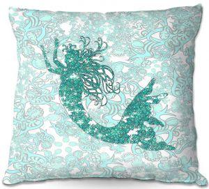Throw Pillows Decorative Artistic | Susie Kunzelman - Mermaid Ribbons Aquamarine