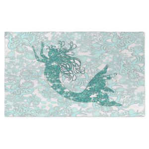 Artistic Pashmina Scarf | Susie Kunzelman - Mermaid Ribbons Aquamarine | Mermaids Fantasy Magical Childlike