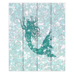 Decorative Wood Plank Wall Art | Susie Kunzelman - Mermaid Ribbons Aquamarine