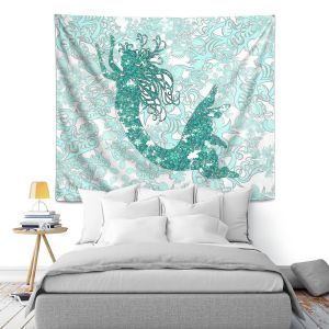 Artistic Wall Tapestry | Susie Kunzelman - Mermaid Ribbons Aquamarine