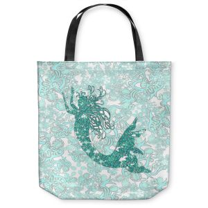 Unique Shoulder Bag Tote Bags | Susie Kunzelman - Mermaid Ribbons Aquamarine