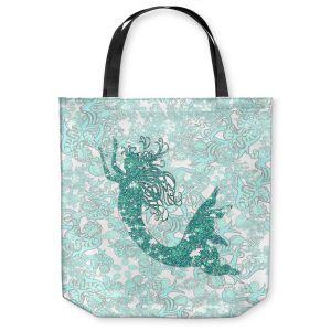 Unique Shoulder Bag Tote Bags | Susie Kunzelman - Mermaid Ribbons Aquamarine