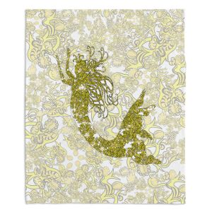 Artistic Sherpa Pile Blankets | Susie Kunzelman - Mermaid Ribbons Golden Yellow