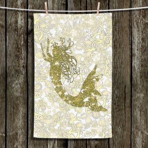 Unique Bathroom Towels | Susie Kunzelman - Mermaid Ribbons Golden Yellow