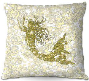 Throw Pillows Decorative Artistic | Susie Kunzelman - Mermaid Ribbons Golden Yellow