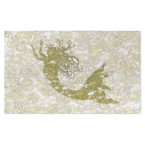 Artistic Pashmina Scarf | Susie Kunzelman - Mermaid Ribbons Golden Yellow | Mermaids Fantasy Magical Childlike