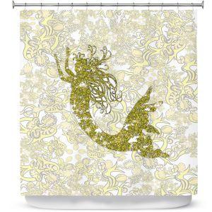Premium Shower Curtains | Susie Kunzelman - Mermaid Ribbons Golden Yellow