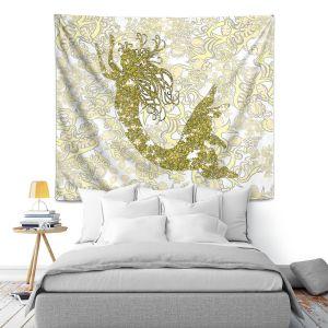 Artistic Wall Tapestry   Susie Kunzelman - Mermaid Ribbons Golden Yellow