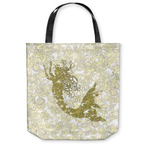 Unique Shoulder Bag Tote Bags | Susie Kunzelman - Mermaid Ribbons Golden Yellow
