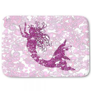 Decorative Bathroom Mats | Susie Kunzelman - Mermaid Ribbons Pink