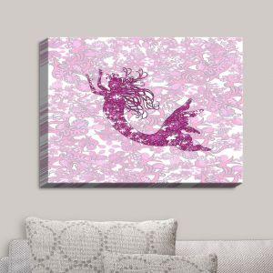 Decorative Canvas Wall Art | Susie Kunzelman - Mermaid Ribbons Pink