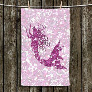 Unique Hanging Tea Towels | Susie Kunzelman - Mermaid Ribbons Pink | Mermaids Fantasy Magical Childlike