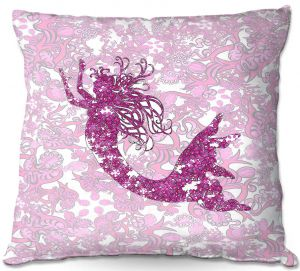 Decorative Outdoor Patio Pillow Cushion | Susie Kunzelman - Mermaid Ribbons Pink