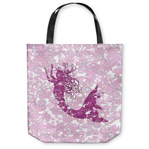 Unique Shoulder Bag Tote Bags | Susie Kunzelman - Mermaid Ribbons Pink