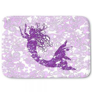 Decorative Bathroom Mats | Susie Kunzelman - Mermaid Ribbons Purple