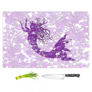 Artistic Kitchen Bar Cutting Boards | Susie Kunzelman - Mermaid Ribbons Purple