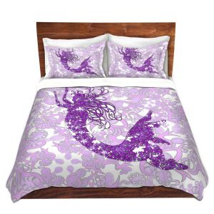 Artistic Duvet Covers and Shams Bedding | Susie Kunzelman - Mermaid Ribbons Purple