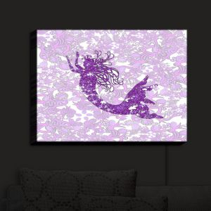 Nightlight Sconce Canvas Light | Susie Kunzelman - Mermaid Ribbons Purple | Mermaids Fantasy Magical Childlike