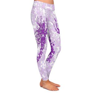 Casual Comfortable Leggings | Susie Kunzelman - Mermaid Ribbons Purple