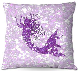 Throw Pillows Decorative Artistic | Susie Kunzelman - Mermaid Ribbons Purple