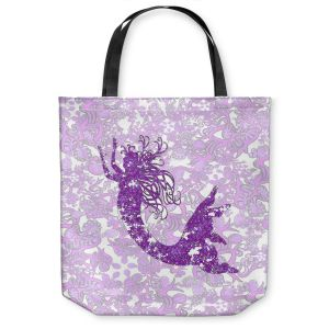 Unique Shoulder Bag Tote Bags | Susie Kunzelman - Mermaid Ribbons Purple