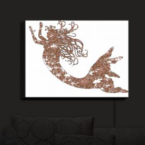Nightlight Sconce Canvas Light | Susie Kunzelman - Mermaid Salmon | Mermaids Fantasy Magical Childlike
