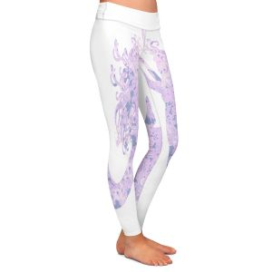 Casual Comfortable Leggings | Susie Kunzelman - Mermaid White Serenity