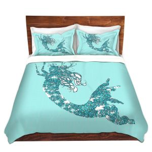 Artistic Duvet Covers and Shams Bedding | Susie Kunzelman - Mermaid II Aqua
