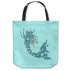 Unique Shoulder Bag Tote Bags | Susie Kunzelman - Mermaid II Aqua